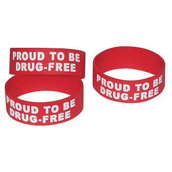 Proud to be Drug Free (10 Pack) Wide Silicone Bracelet