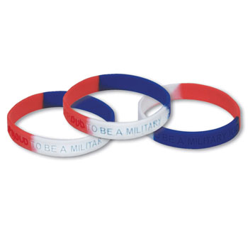 """Proud to be a Military Kid"" (10 Pack) Silicone Bracelet"