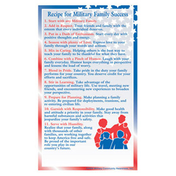 Positive Message Magnet: (25 Pack) Recipe for Military Family Success