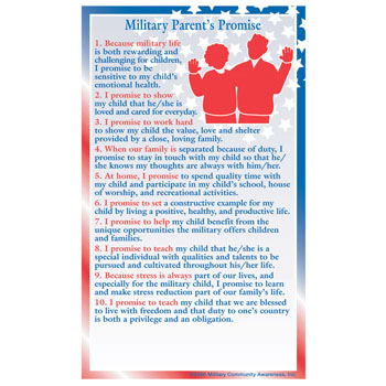 Positive Message Magnet: (25 Pack) Military Parents Promise Pledge