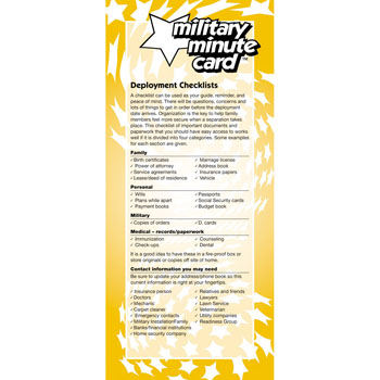Military Minute Card: (50 Pack) Deployment Checklists
