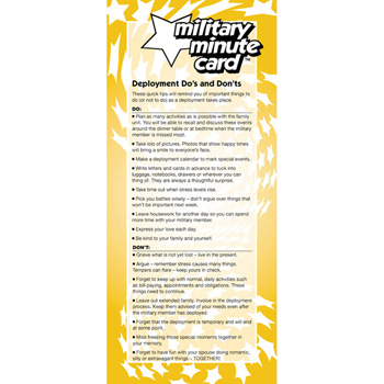 Military Minute Card: (50 Pack) Deployment Do's and Don'ts