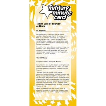 Military Minute Card: (50 Pack) Taking Care of Yourself at Home