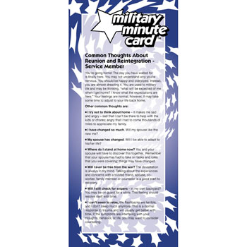 Military Minute Card: (50 Pack) Common Thoughts about Reunion and Reintegration Service Member