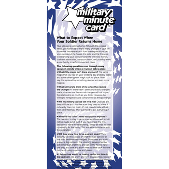 Military Minute Card: (50 Pack) What to Expect When Your Soldier Returns Home
