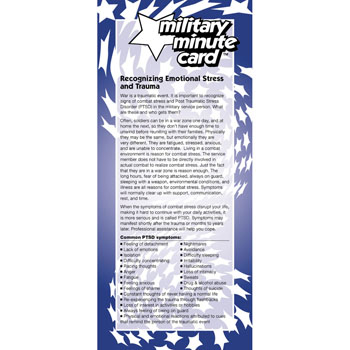 Military Minute Card: (50 Pack) Recognizing Emotional Stress and Trauma