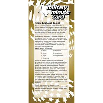 Military Minute Card: (50 Pack) Crisis, Grief, and Coping