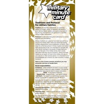 Military Minute Card: (50 Pack) Traditions and Protocol for Military Families