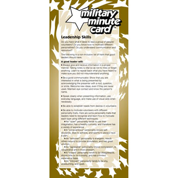 Military Minute Card: (50 Pack) Leadership Skills