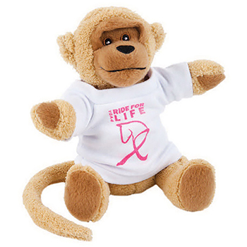 "7"" Extra Soft Monkey With T Shirt, Ribbon or Bandana"