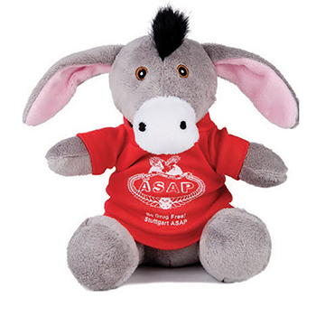 "7"" Extra Soft Donkey With T Shirt, Ribbon, or Bandana"