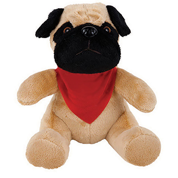 "8"" Super Soft Pug With T Shirt, Ribbon or Bandana"