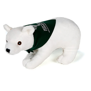 "9"" Realistic Stuffed Polar Bear With Ribbon or Bandana"