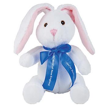 "10"" Extra Soft White Bunny With Ribbon or Bandana"