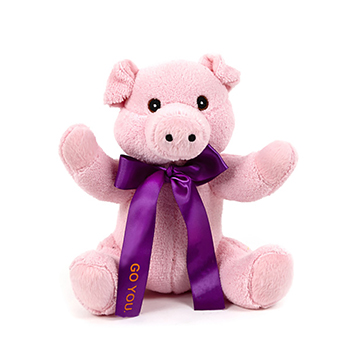 "10"" Extra Soft Furry Pig With Ribbon or Bandana"
