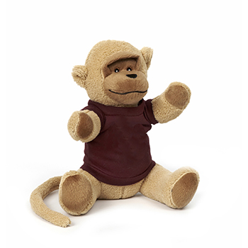 "10"" Soft Plush Monkey With T Shirt, Ribbon or Bandana"