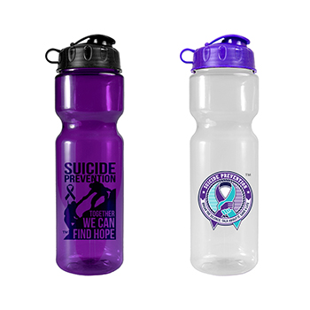 Suicide Prevention 28 oz Transparent Bottle with Flip Top Lid