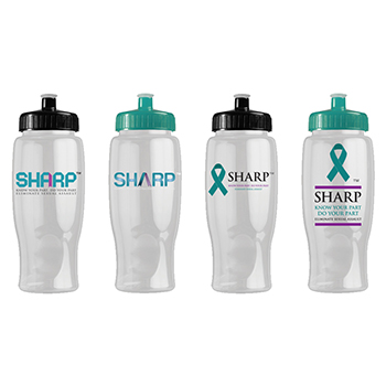 SHARP 27 oz Transparent Water Bottle with Push/Pull Lid