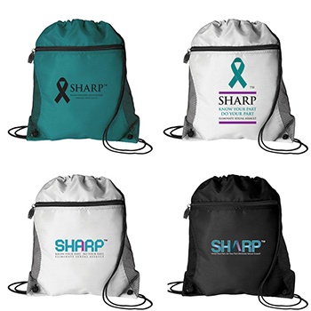 SHARP Mesh Pocket Drawstring Bag