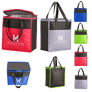 Two Tone Flat Top Insulated Grocery Tote