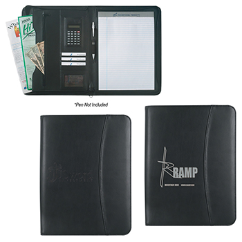 "Leather Look 8 1/2"" x 11"" Zippered Portfolio With Calculator"