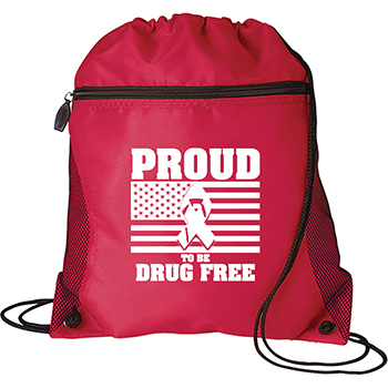 Proud To Be Drug Free Mesh Pocket Drawcord