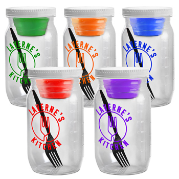 Salad Jar with Dressing Container