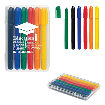 6 Piece Retractable Crayons in Case