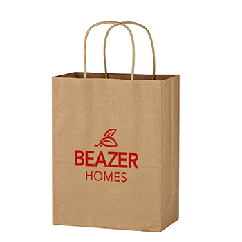 "8"" x 10 1/4"" Kraft Paper Brown Shopping Bag"