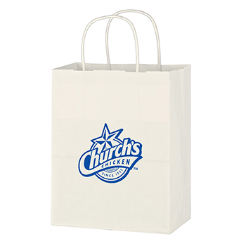 "8"" x 10 1/4"" Kraft White Paper Shopping Bag"