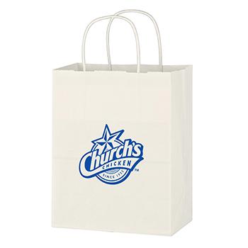"8"" x 10 1/4"" Kraft White Paper Shopping Bag"