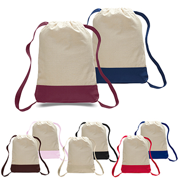 Color Accent Canvas Drawstring Backpack