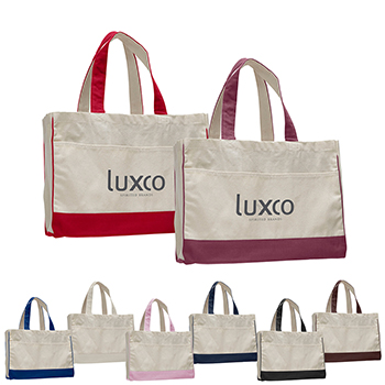 "17"" Color Trim Gusset Tote With Interior Zipper Pocket"