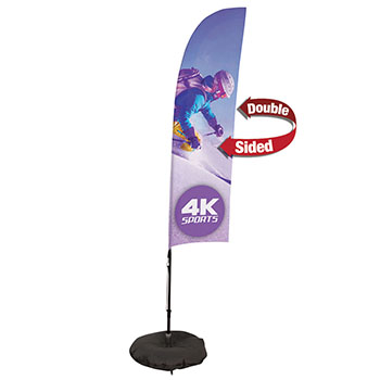7' Streamline Blade Sail Sign Kit With Double Sided Imprint with Scissor Base