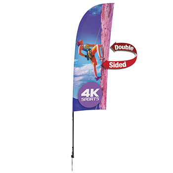 9' Streamline Blade Sail Sign Kit Double Sided Imprint With Ground Spike