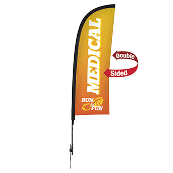 9' Premium Blade Sail Sign Kit With Double Sided Imprint and Ground Spike