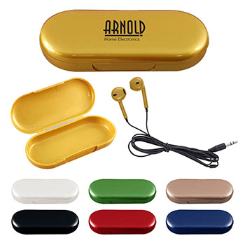 Metallic Wired Earbuds With Clamshell Case