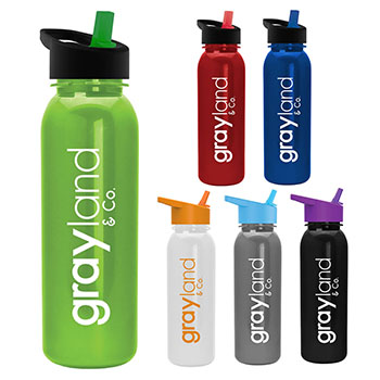 24 oz. Metalike Bottle With Flip Straw Lid