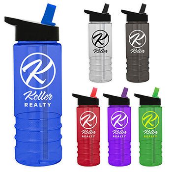 24 oz Tritan Salute Bottle With Flip Straw Lid