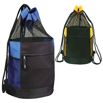 Mesh Drawstring Beach Barrel Bag