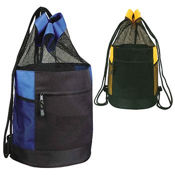 Mesh Drawstring Beach Barrel Bag