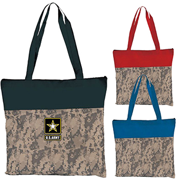 Two Tone Camo Zipper Tote
