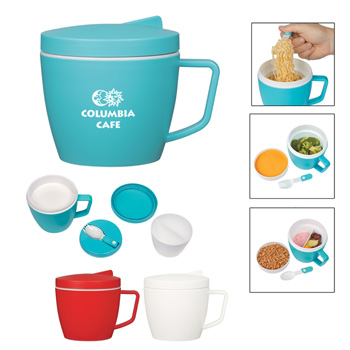 14 oz Thermal Mug with Spoon and Fork Set