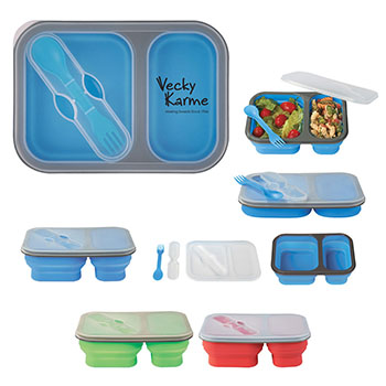 Collapsible 2 Section Food Container w/Dual Utensils